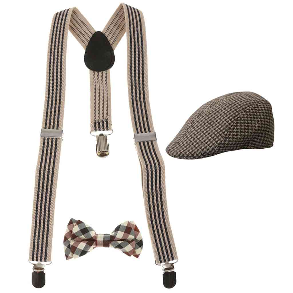 Kids Stretchable Y-back Suspender, Bowtie With Silvery Clips