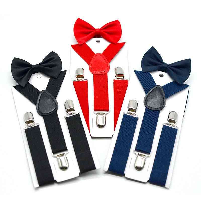 Adjustable Elastic Kids Bow Tie Set, Braces Suspenders