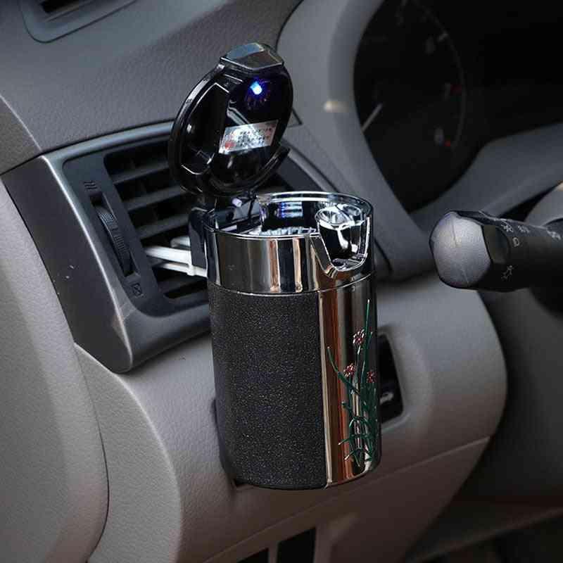 Led Light-ashtray, Carbon Fiber Car Ashtray