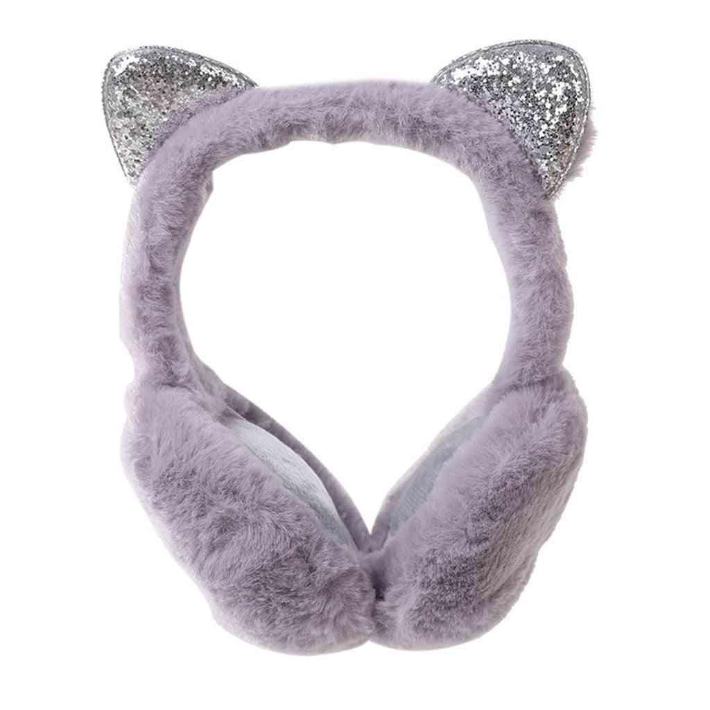 Winter Warm, Cat Ear Sequined Fur Earmuffs