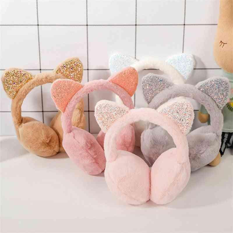 Foldable Sequined Cat Ears Fur Earmuffs