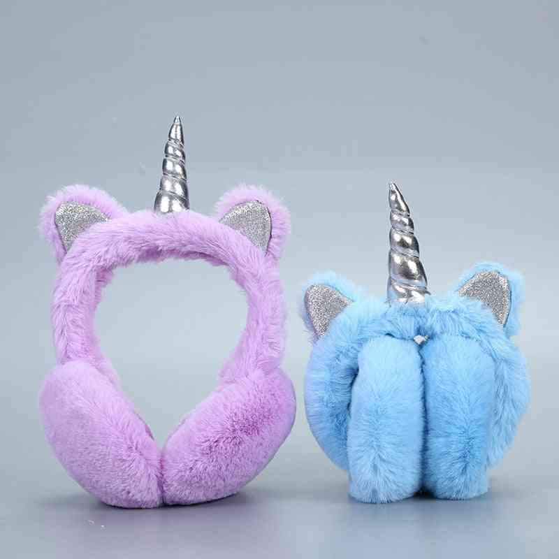 Warm Unicorn Design, Fur Earmuffs