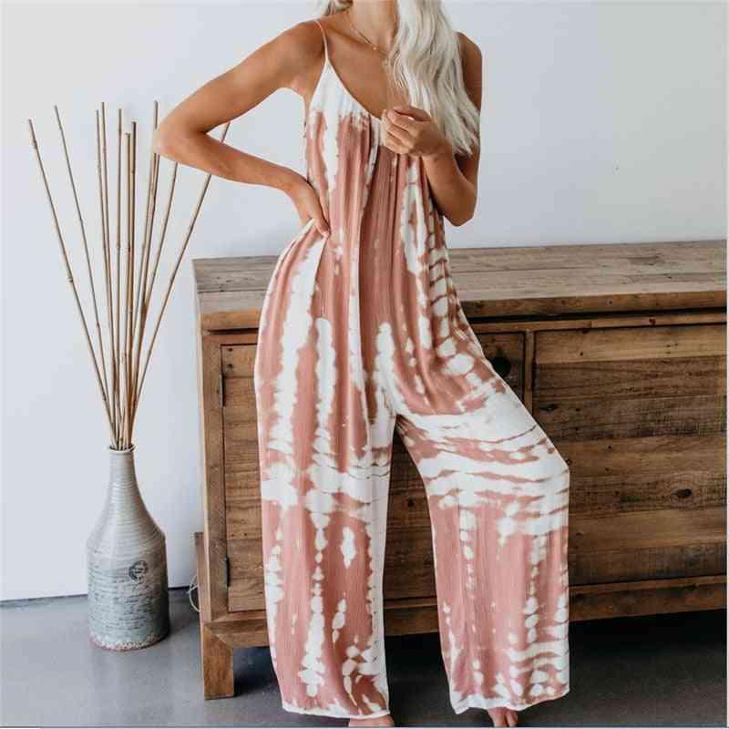 Sleeveless Tie-dye Print Boho Casual Jumpsuit