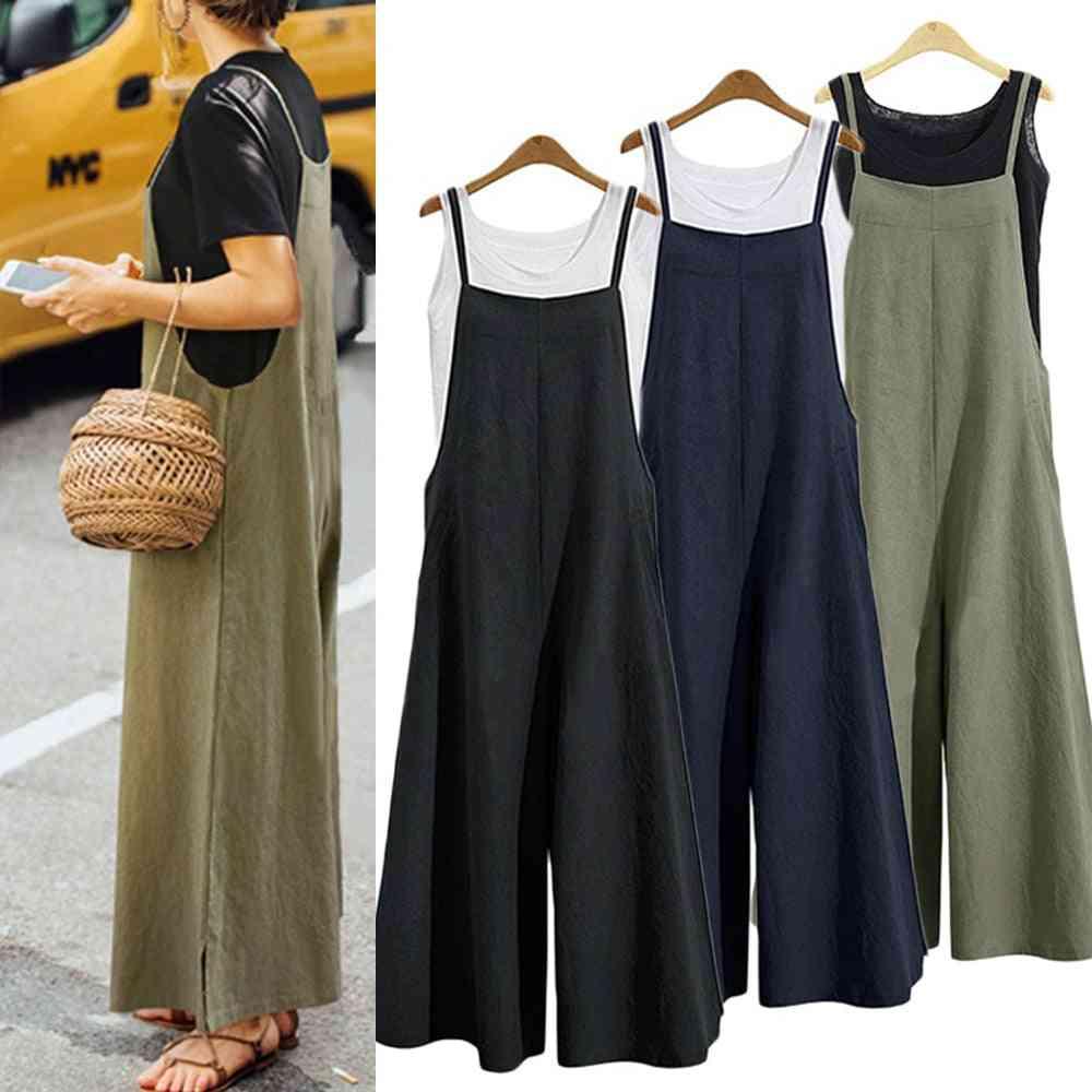 Women Casual Loose Summer Solid Strap Wide Leg Pants, Cotton Linen Jumpsuits