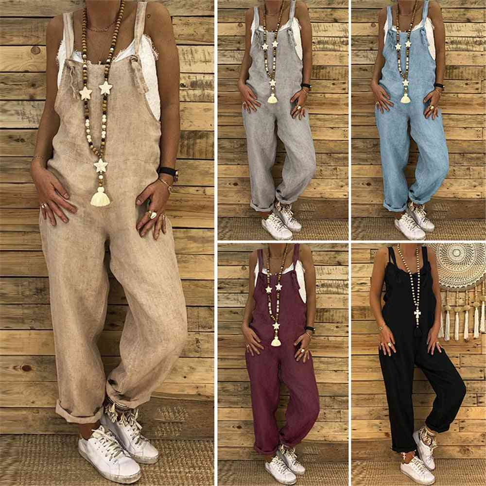 Womens Casual Strappy Dungarees Jumpsuit
