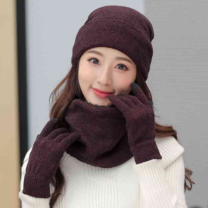 Women Winter Warm Hats, Scarves And Gloves Set