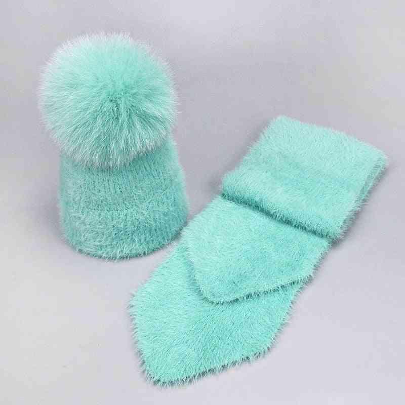 Winter Fox Pompom Rabbit Fur Hat And Scarf