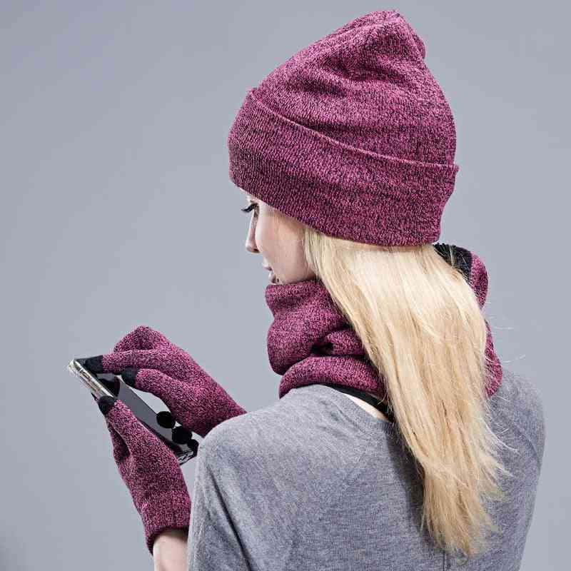Knitted Winter Hat Scarf Gloves Set For Women