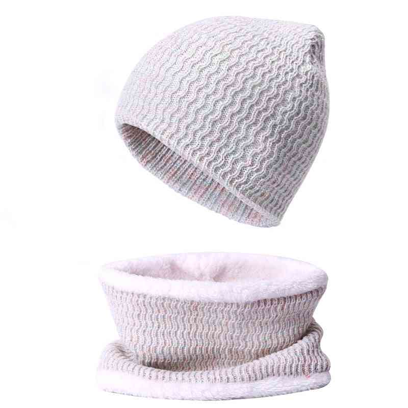 Winter Warm Thick Beanies Hat, Scarf Set For Female