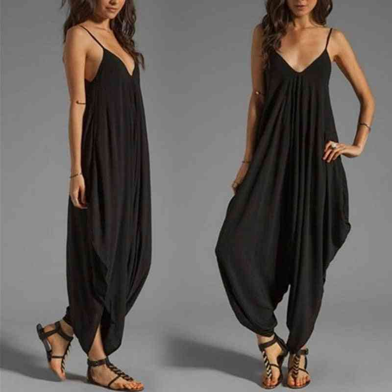 Women Casual Sleeveless, Deep V Neck And Spaghetti Strap Jumpsuit