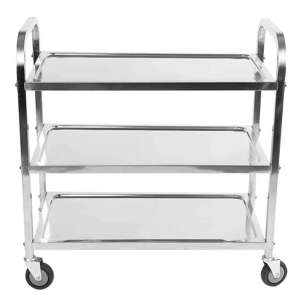 3-tier Stainless Steel Utility Cart With Wheels Trolley Storage Shelf