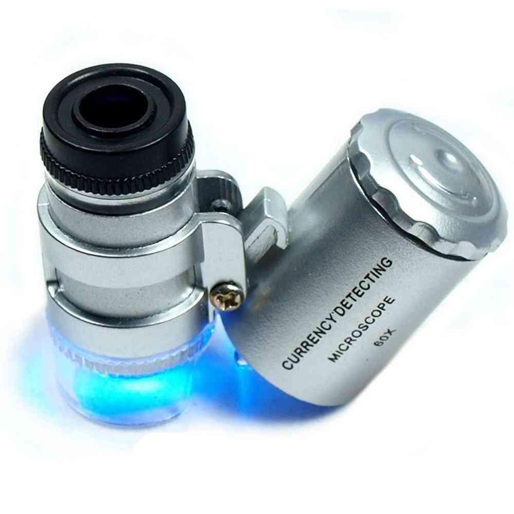Led Uv Light Pocket Microscope Jeweler Magnifier Loupe