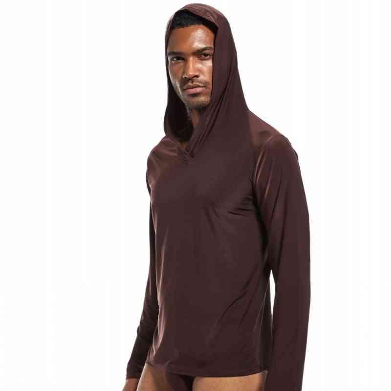 Men Sleepwear Silky Hooded Tops