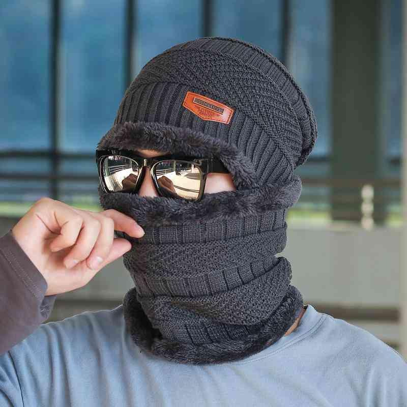 Unisex Winter Beanie Hat, Thick Wool Neck Scarf