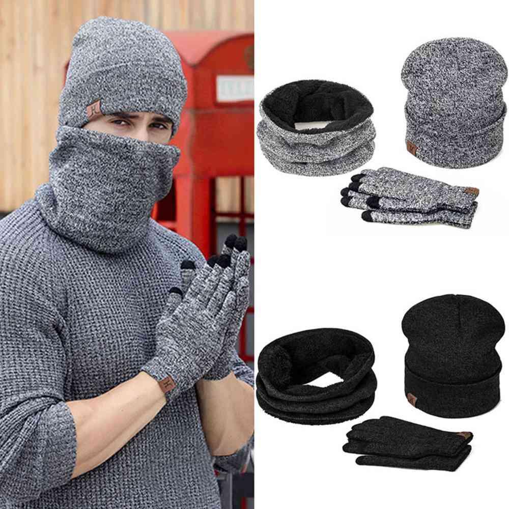 Unisex Winter Beanie Hat, Warm Scarf, Gloves Set