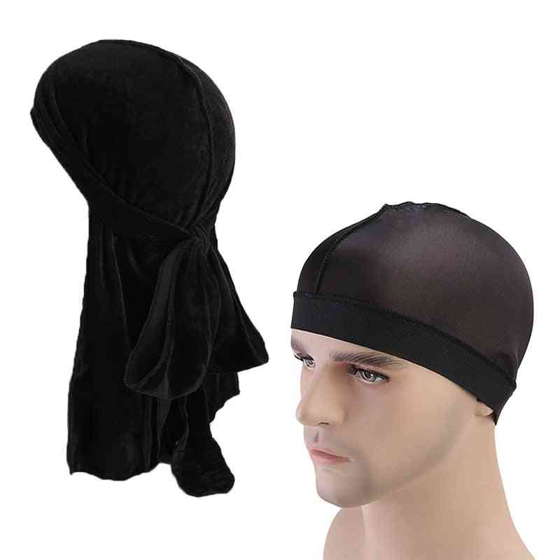 Velvet Durag And Soft Comfy Chemo Cap, Sleeping Hat Pirate Headwrap