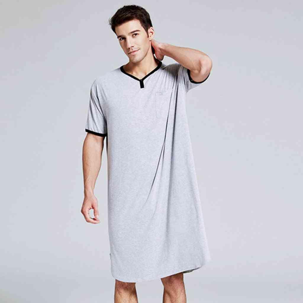Men Long Short Sleeve Nightwear Soft Comfortable Loose Sleep Shirt