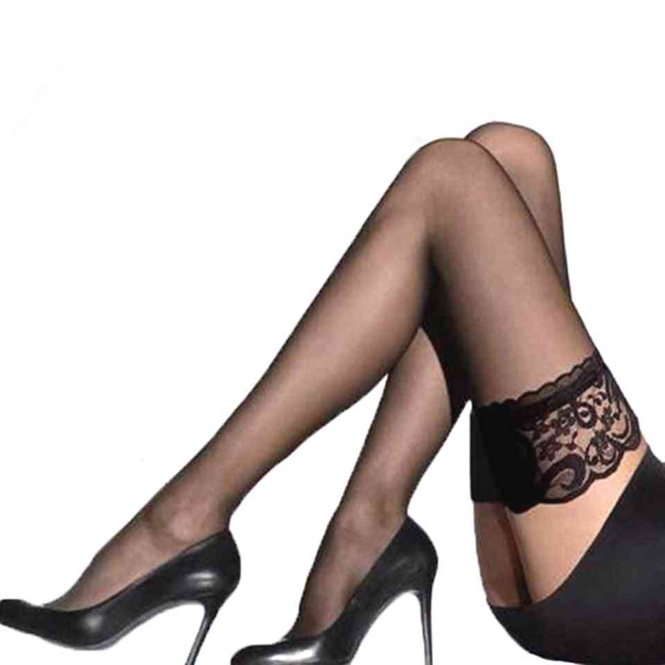 Women Sheer Sexy Lace Top, Thigh High Stockings