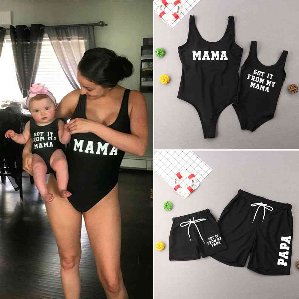 Family Matching Swimsuit-mother-daughter Bikini And Father-son Beach Shorts