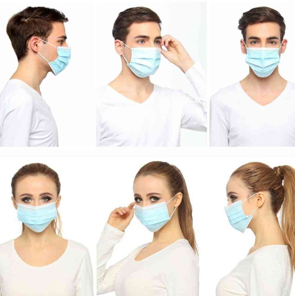 Disposable Masks 3-layer Non-woven Face Mask Anti Dust Mouth Mask Protection Breathing Soft Protective Mask 10/50/100/200/500pcs