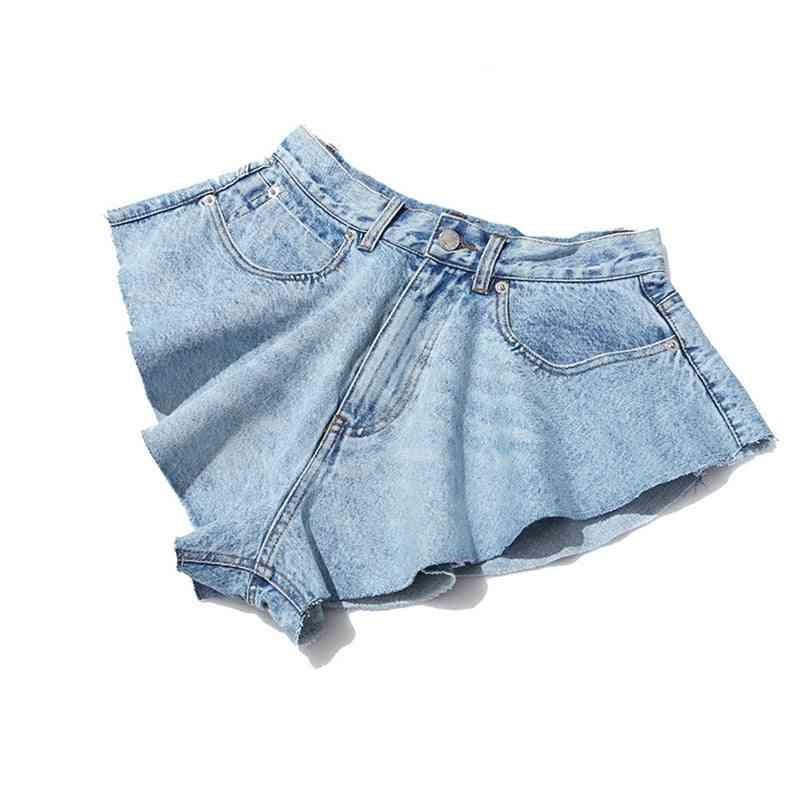 Casual Denim, Shorts Skirts - High Waist Ruffle Pants