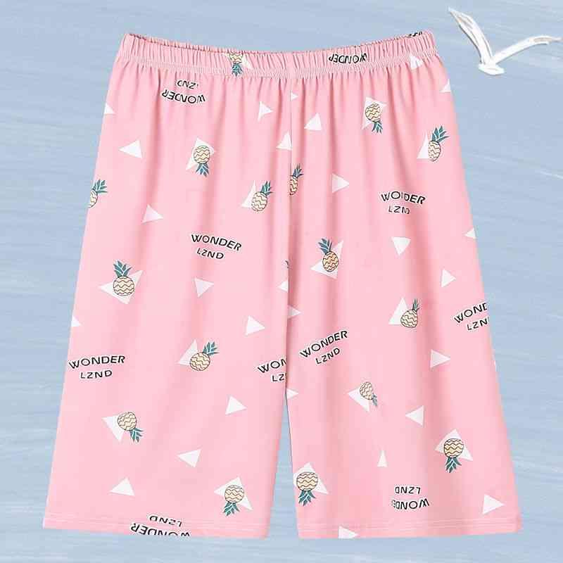 Women Printed Loose Kawaii Korean Style Knee Length Sleepwear Sweet Pajama Pants