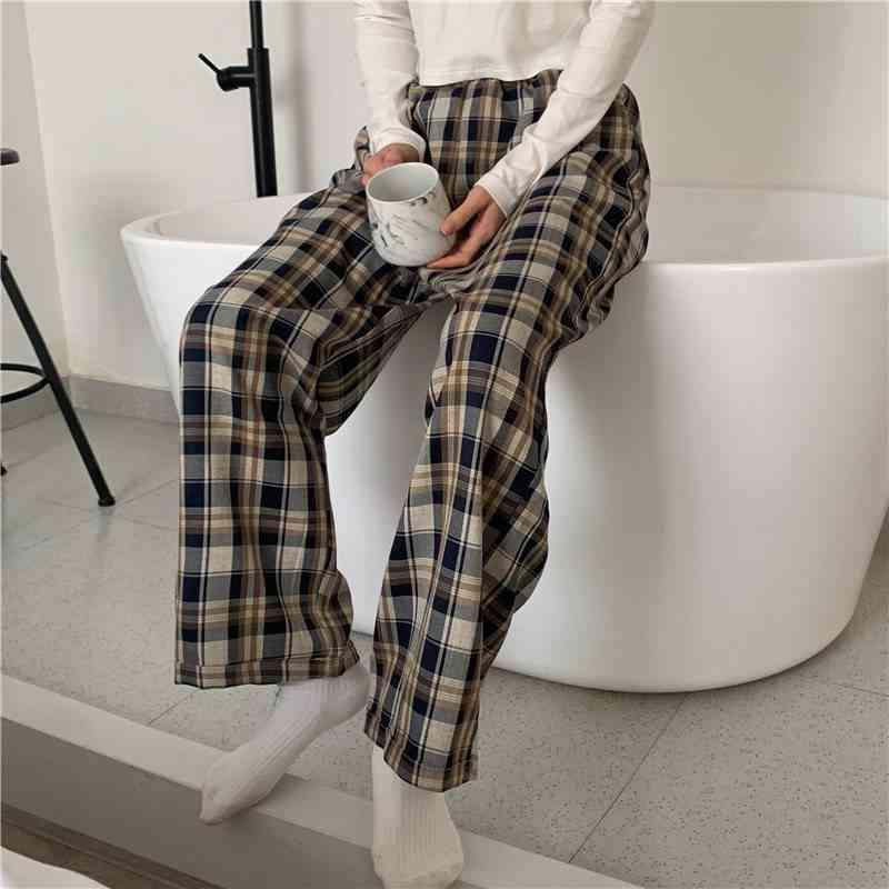 Plaid Pattern, Wide-leg Comfortable Elastic Waist Pyjamas