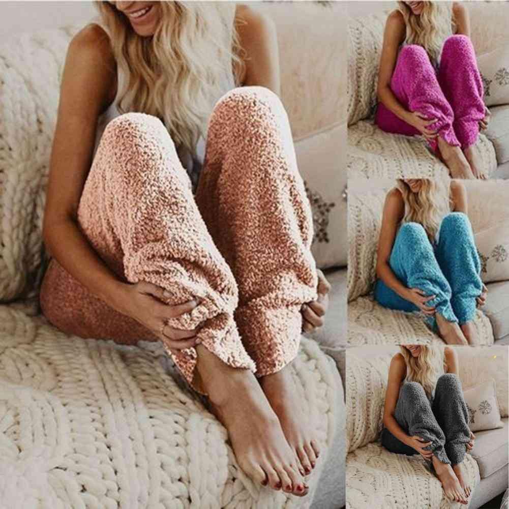 European And American Winter Warm Fleece Sleepwear Long Pants For Nightwear