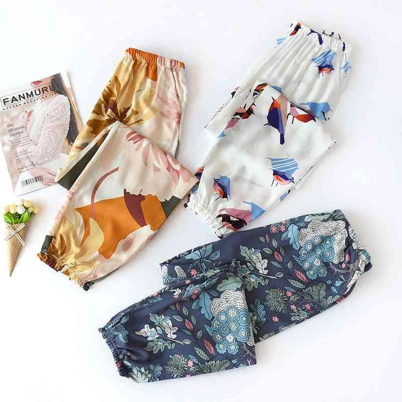 Summer Viscose Rayon Printing Women Pajama Elastic Waist Ankle-length Pants