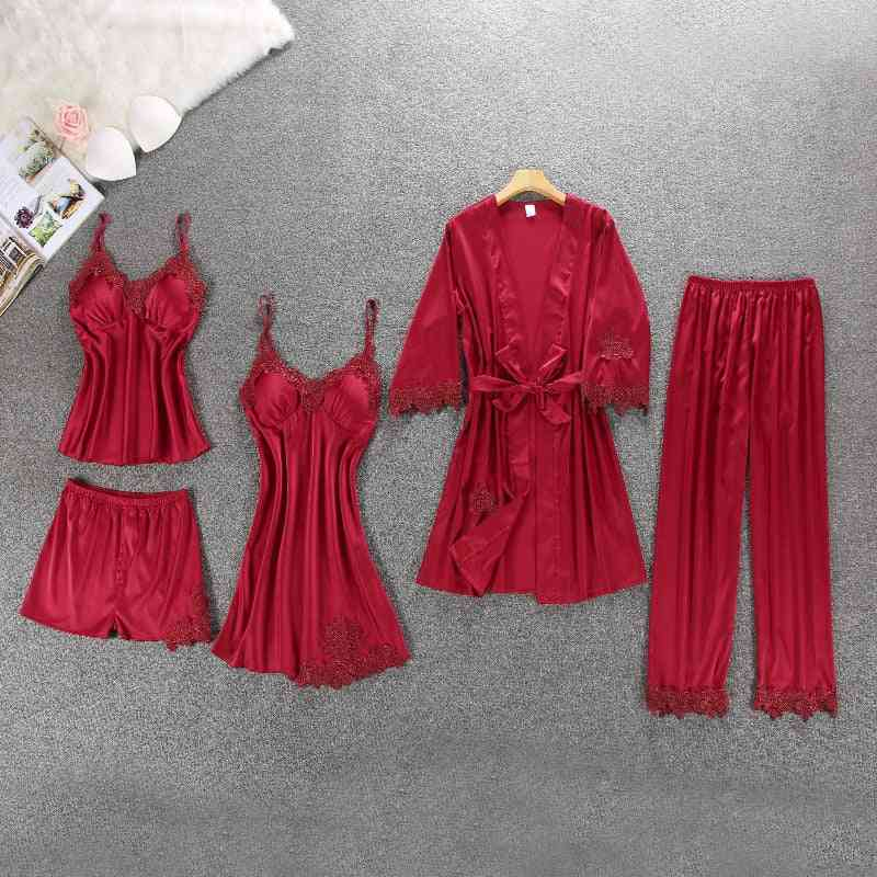 Ladies Silk Satin Pajama Set Autumn/winter Nightwear