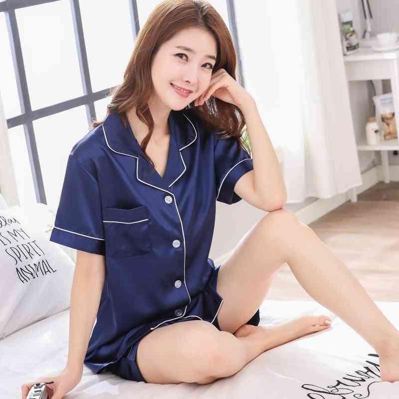 Spring Summer Women Faux Silk Pajamas Set Simple Nightwear Short Sleeves