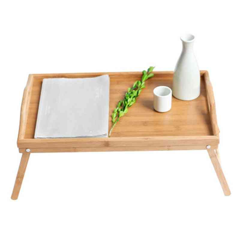 Foldable Bamboo Wood Bed Tray / Laptop Desk, Simple Dining Table