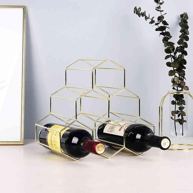 Simple Geometric Wine Rack Household Bottle Cabinet Stand Holder