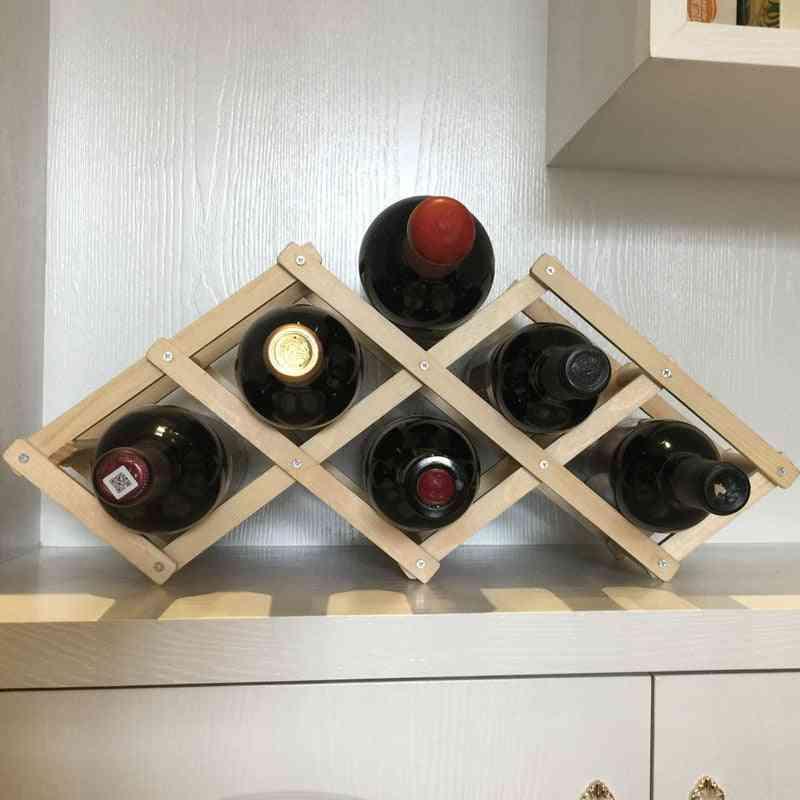 Wooden Wine Rack/household Folding Winebottle Storage Shelf