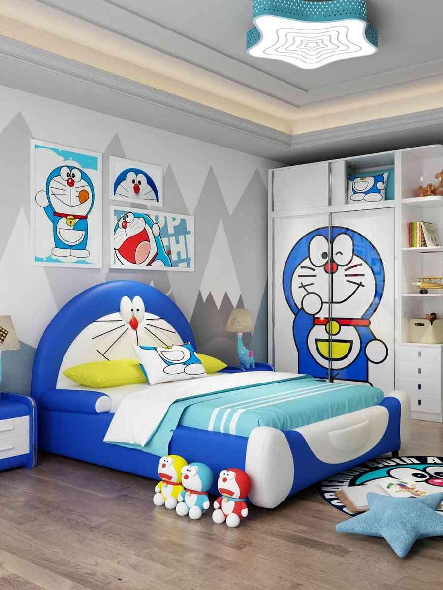 Single Double Teenagers Cartoon Storage Doraemon Dingdang Cat Leather Bed