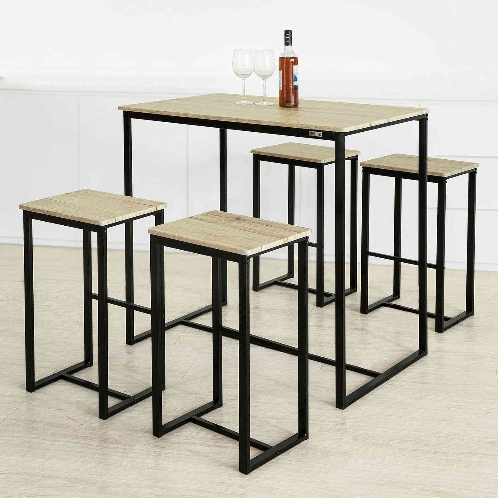 Bar Table And 4 Stools, Home Kitchen Breakfast Bar Set/furniture Dining Set