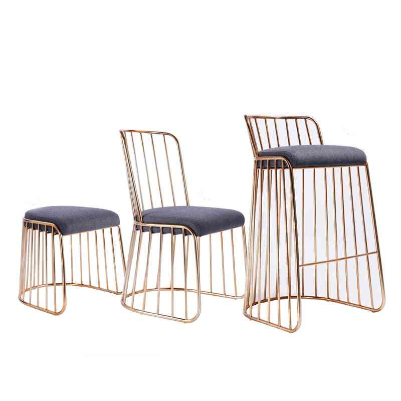 Simple Modern Bar Stool Gold Wrought Iron Dining/living Room/lounge Chair