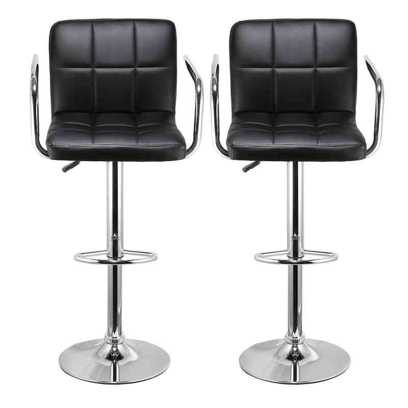 Leather Seat With Adjustable Height-swivel Stool Chair For Bar/kitchen