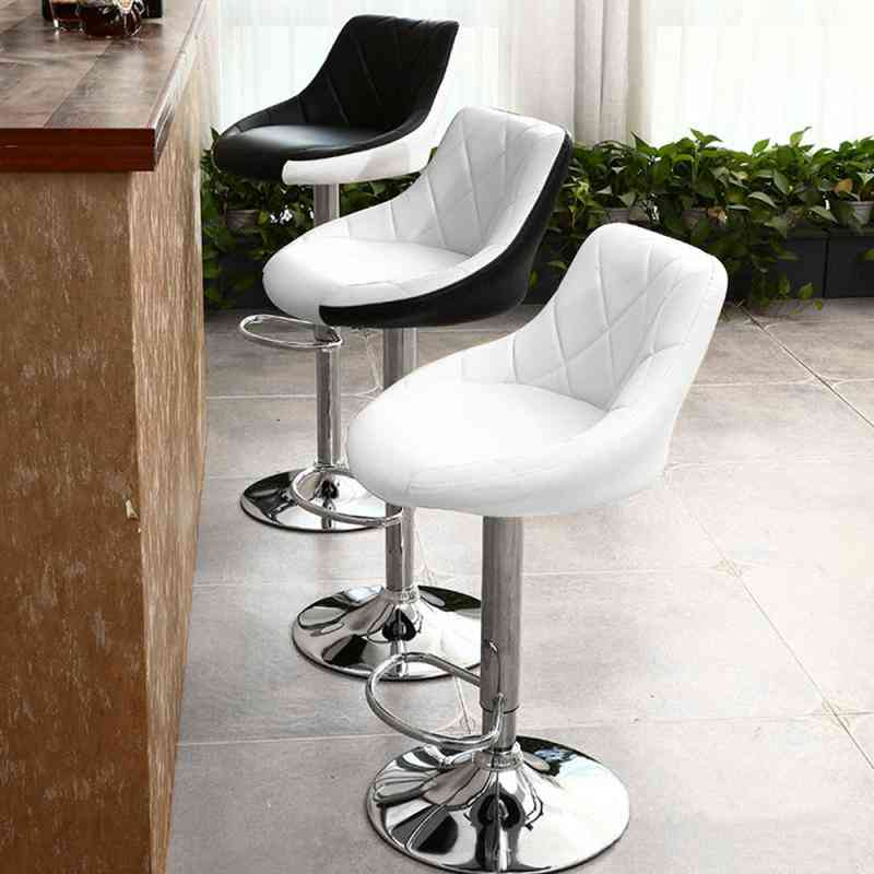 Bar Chair Modern Fashion Soft Kitchen Living Room Chairs Adjustable Lifting With Footrest Bar Stools