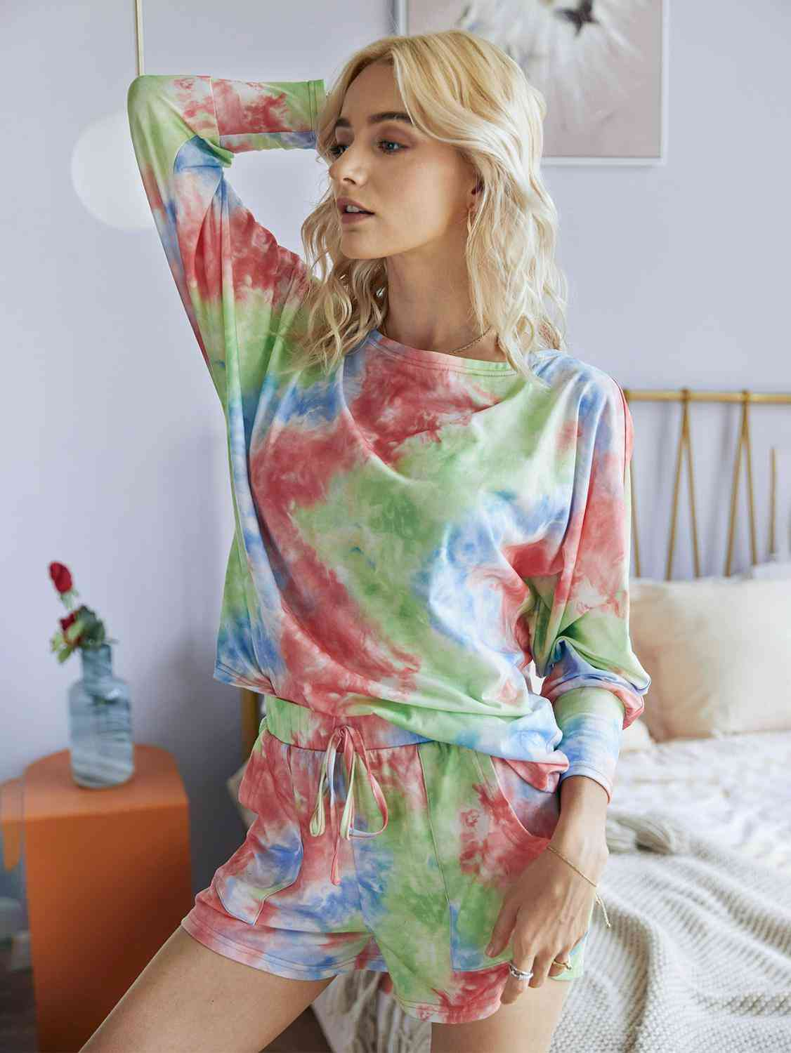 Casual Tie Dye Print Top And Shorts Set
