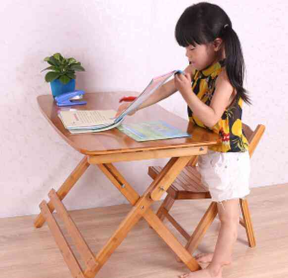 Adjustable And Folding Wooden Study Table With Chair