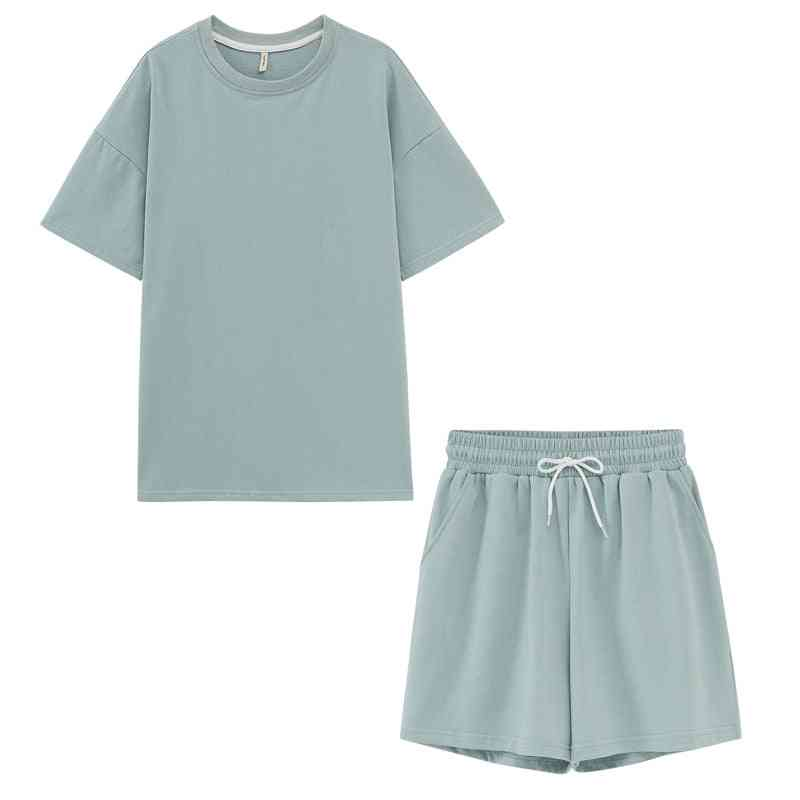Two Peices Set- Cotton Oversized T-shirts And High Waist Shorts