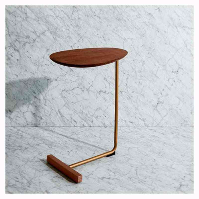 Simple Modern Side Table - Bedside Reading, Solid Wood Countertop