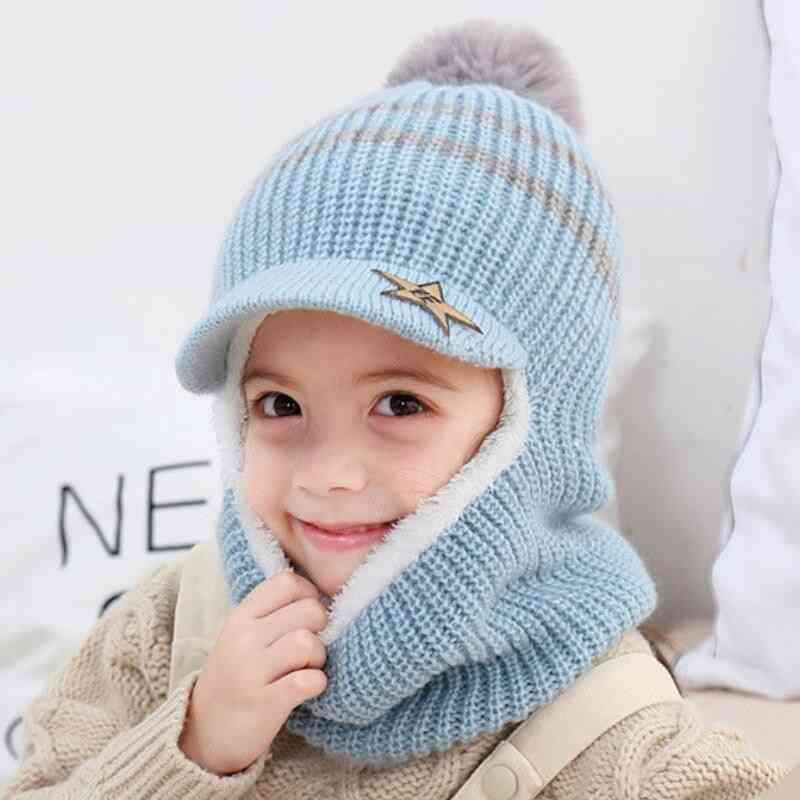 Child Winter Warm Knit Short Plush Hooded Hat And Scarf Set