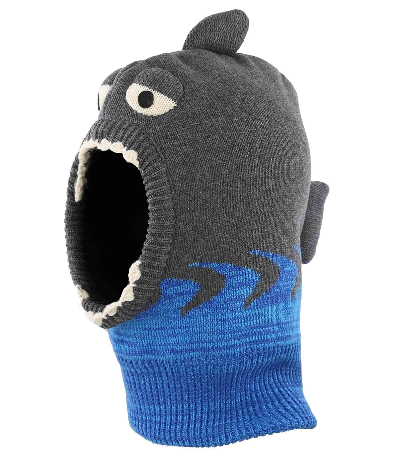 Toddler Infant Knit Winter Warm Hats, Cute Cartoon Shark Fleece Lined Hood Scarf