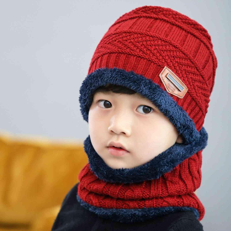 Children Winter Knit Hats, Beanie, Kids Cap, Scarf Set