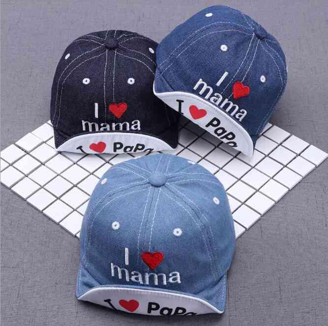 Fashion Denim Baby Letters Hat, Kids Baseball Caps