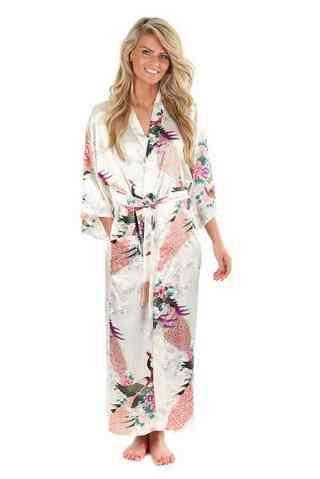 Floral Bridesmaids Long Kimono Robe Bride Gown