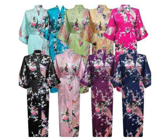 Print Flower- Peacock Kimono, Bathrobe, Long-robe Sleepwear