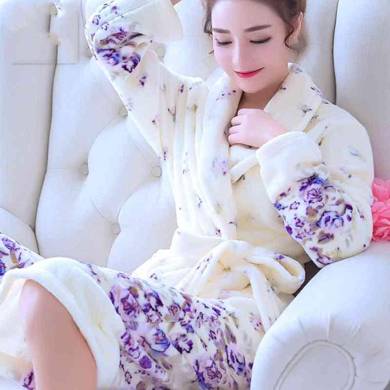 Winter Warm Coral Fleece Nightdress Sleepwear Women Pajamas